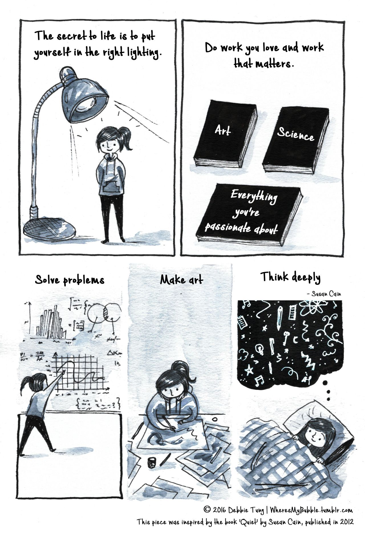 """wheresmybubble: """"This comic was inspired by Susan Cain's amazing book, 'Quiet' which was published in 2012.  """""""