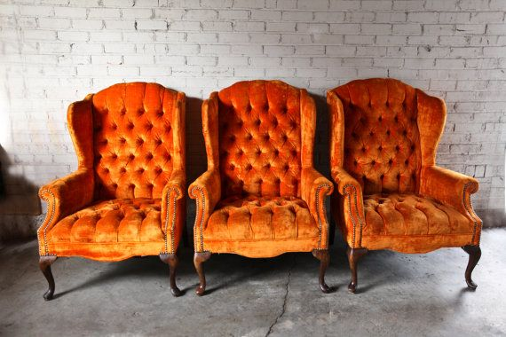Superior 3 Vintage Orange Velvet Tufted Wingback Chairs By TheFeelingofHome, $450.00