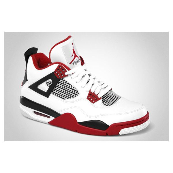 new product b9209 bad2c Air Jordan IV – White – Varsity Red – Black   Release Date   Jordans... ❤  liked on Polyvore featuring shoes, jordans and sneakers