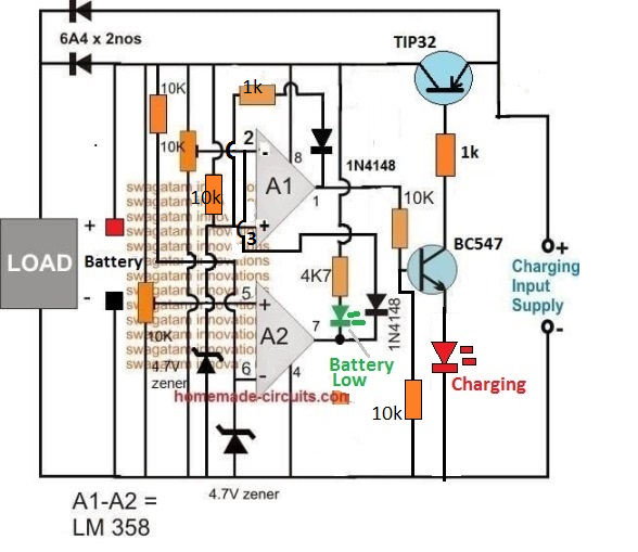 Op Amp Battery Charger Circuit With Auto Cut Off