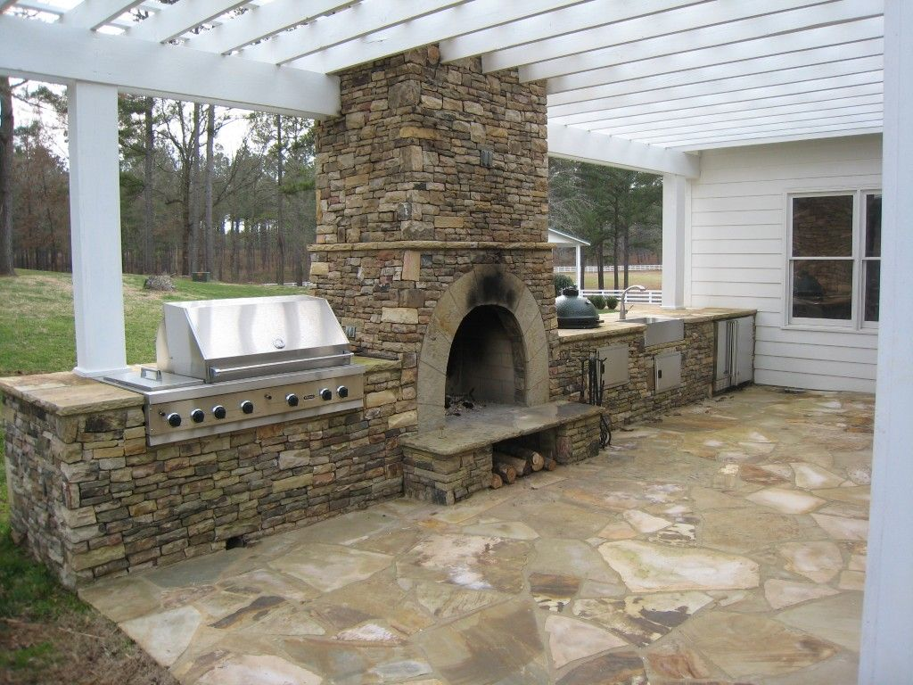 Backyard and Outdoor stone fireplaces
