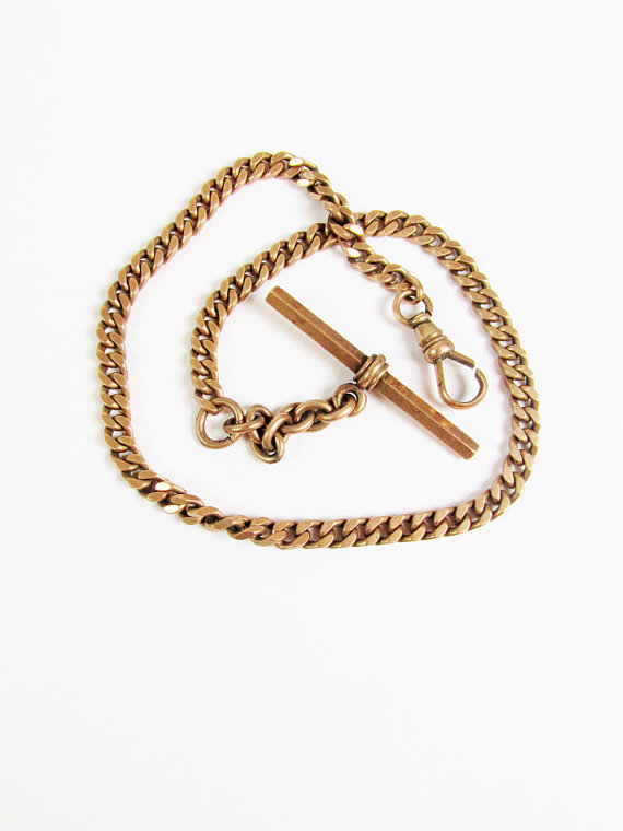 fa655a3fe433 Vintage 14k Gold Pocket Watch Chain with T-Bar and Swivel Clasp ...