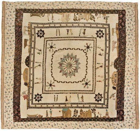 Pictorial Quilt, circa 1795. Linen, multicolored thread, 91 × 1031 ... : pictorial quilt - Adamdwight.com