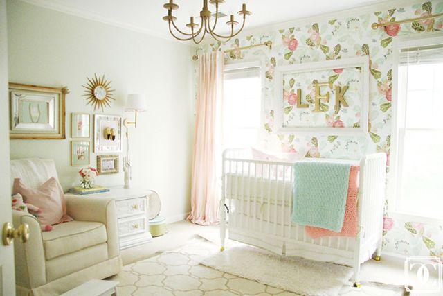 Watercolor Peony Wallpaper Girl room, Mint green nursery