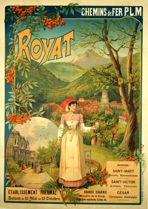 royat france 1910 ilustration 2 pinterest france travel posters and vintage posters. Black Bedroom Furniture Sets. Home Design Ideas