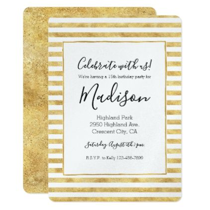 Gold glitzy stripes card gold glitzy stripes card birthday diy gift present custom ideas negle Image collections