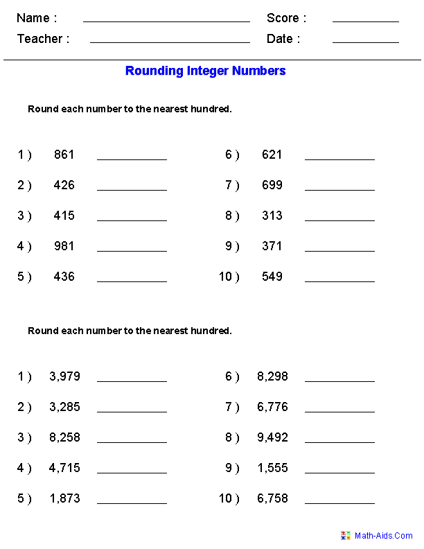 Rounding Worksheets Rounding Worksheets For Practice Rounding Worksheets Rounding Decimals Decimals Worksheets