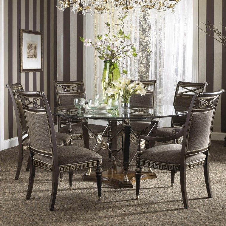 Furniture Round Glass Top Dining Top Table Connected By Six Black Wooden Dining Chair Formal Dining Room Sets Glass Dining Room Table Glass Round Dining Table