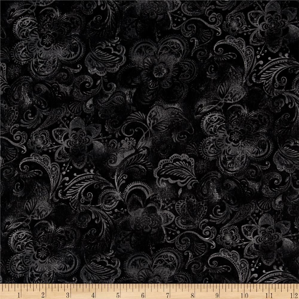 """108"""" Wide Quilt Back Fleur Black From @fabricdotcom"""