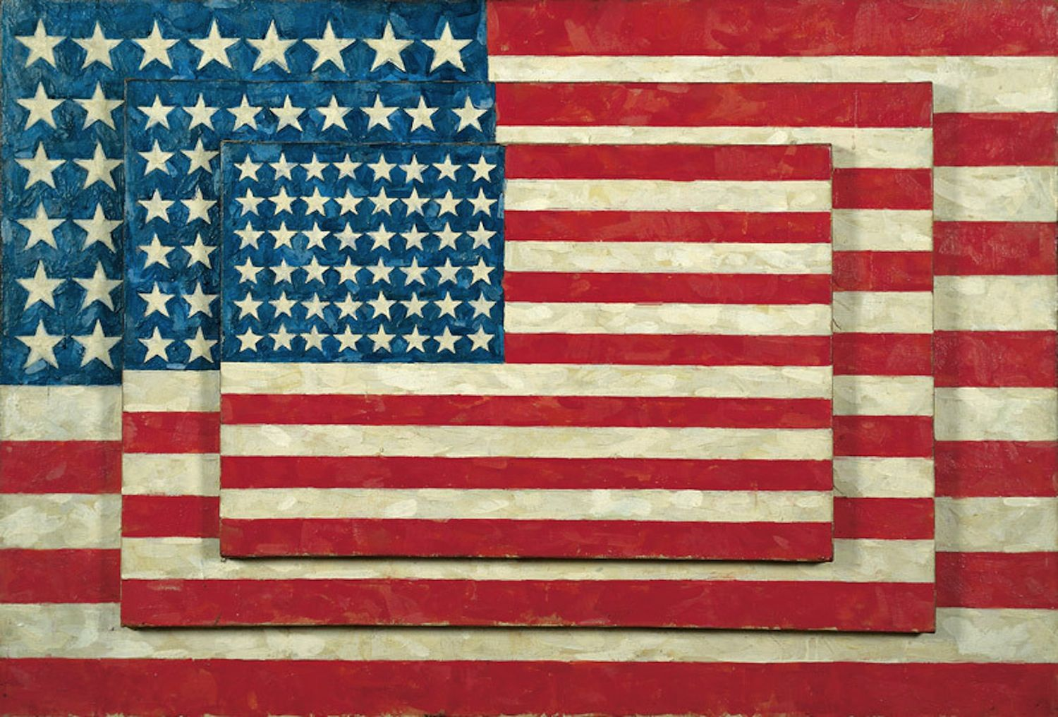 Jasper Johns Three Flags 1958 Encaustic On 3 Canvases 30 7 8 45 1 2 5 Inches Collection The Whitney Museum Of America Jasper Johns American Art Pop Art