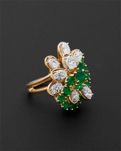 Ultra Luxe. Oscar Heyman Vintage 1973 18K Emerald & Diamond Ring.