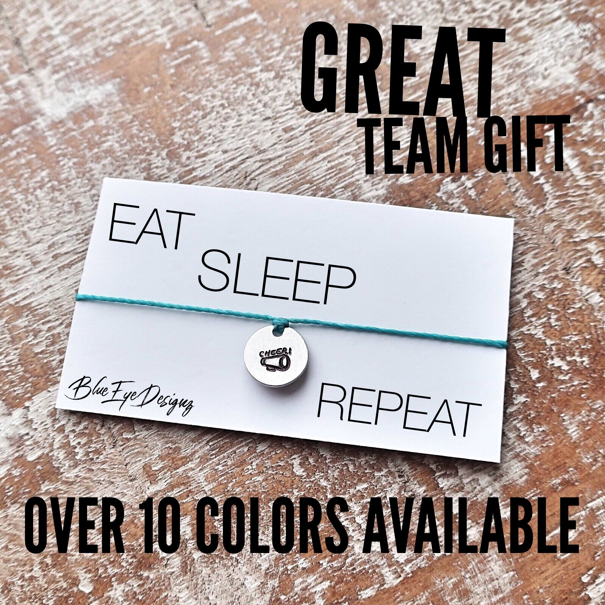 Cheer Gifts - eat sleep cheer repeat - handstamped adjustable wax ...
