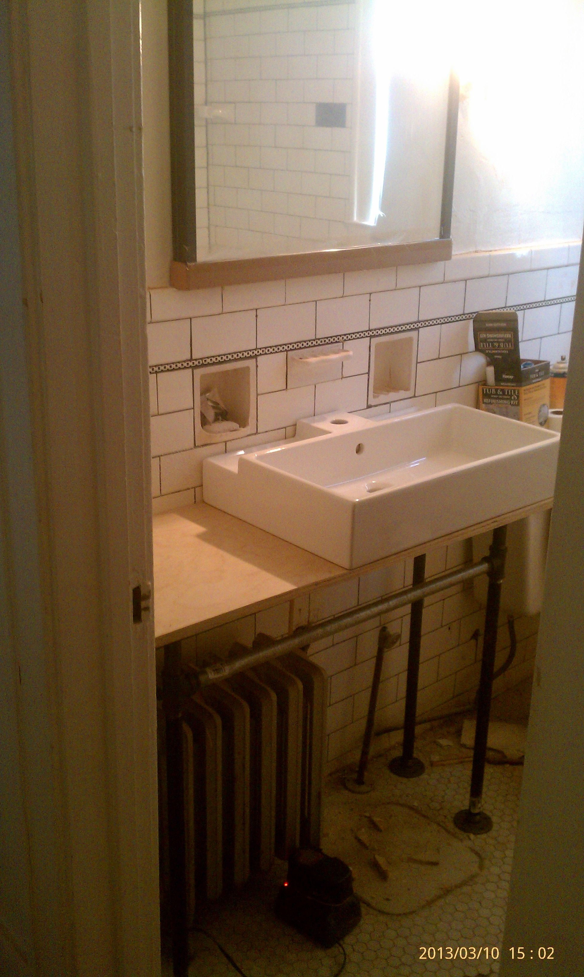 diy converted old sink to galvanized pipe vanity and doubles as a ...