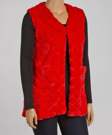 Another great find on #zulily! Red Faux Fur Quilted Vest - Plus #zulilyfinds