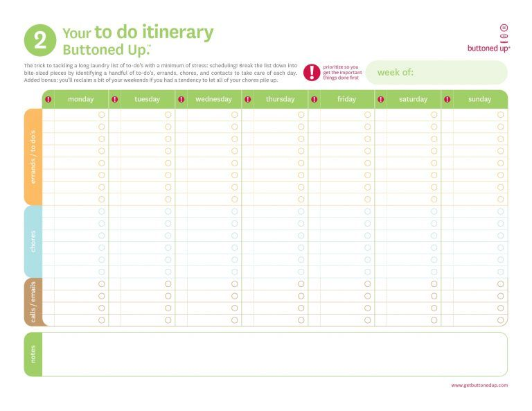 Printable Daily To Do List Itinerary template, Itinerary