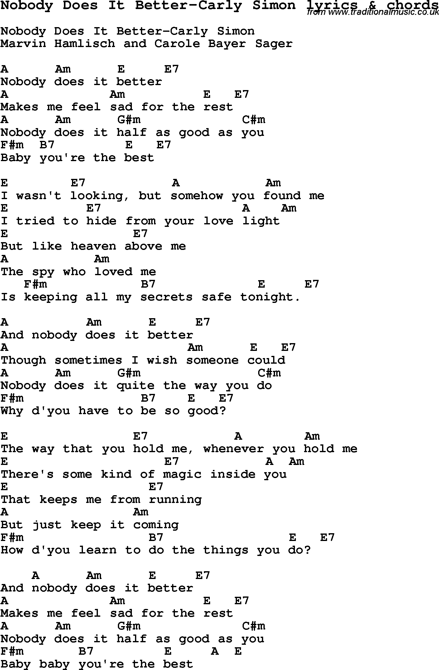 Love song lyrics for nobody does it better carly simon with love song lyrics for nobody does it better carly simon with chords for ukulele hexwebz Images