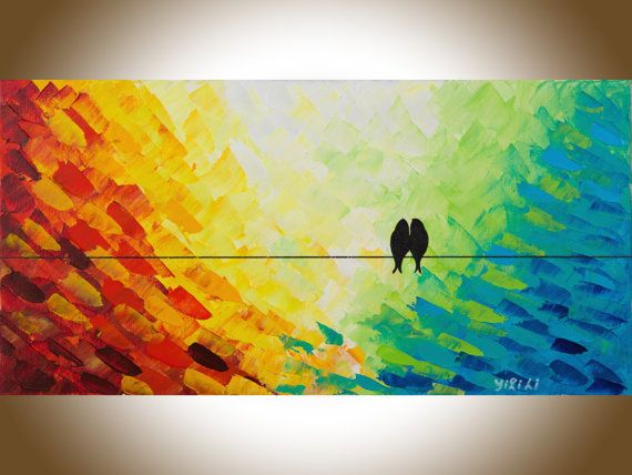 birds art mixed medium original painting abstract by qiqigallery