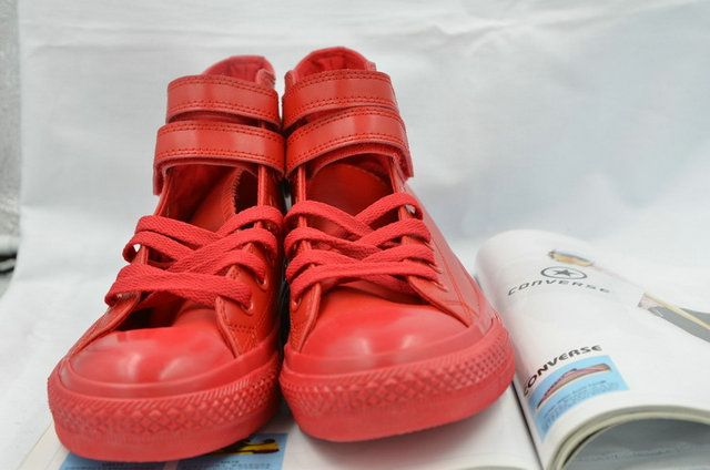 32c0e378123634  converse Pure Red Converse Double Velcro Chuck Taylor All Star Leather High  Tops Boots