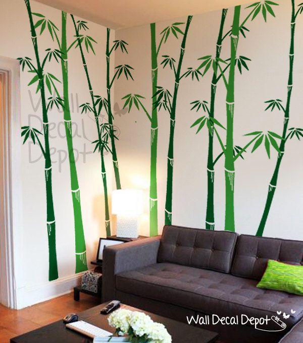 Vinyl Tree Wall Decal Wall Sticker Art Bamboo By Walldecaldepot Bamboo Wall Decor Bamboo Wall Wall Paint Designs