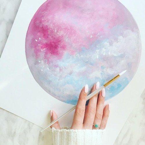 Art Drawing And Moon Image Zeichenvorlagen Wasserfarben Kunst