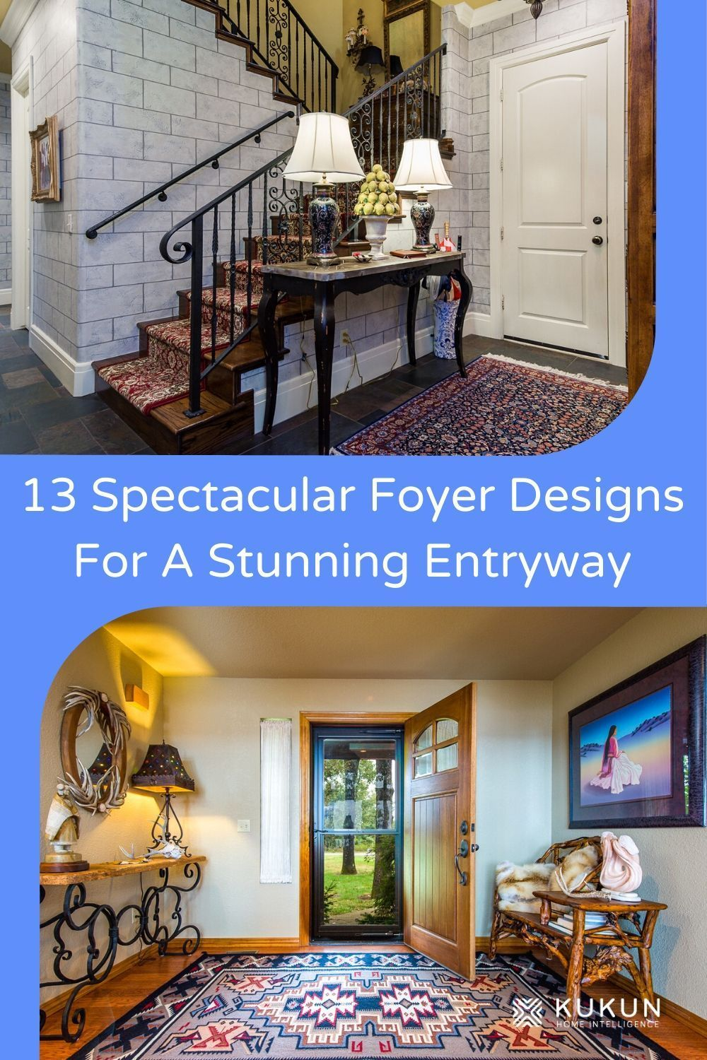 We have 13 great foyer design ideas that will make your guests go wow with their charm and creativity. Be inspired by these clever design ideas for your next home renovation. #FoyerDesignIdeas #HomeDesignIdeas #HomeEntrance