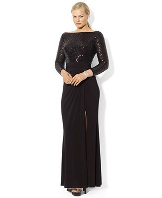 a140ff43 Lauren Ralph Lauren Plus Size Dress, Long Sleeve Scoop-Back Sequined Gown