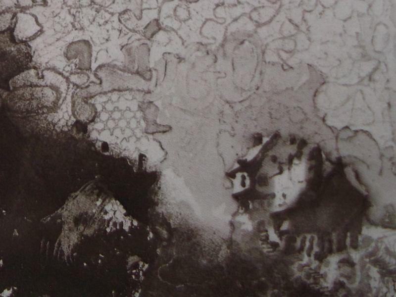 Ce détail d\u0027un dessin de Victor Hugo représente une maison entourée