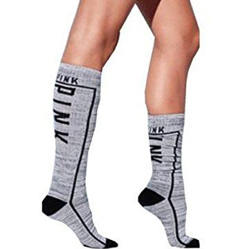 7c7bcd3507 Victoria s Secret Pink Knee High Socks GREY MARL One Size