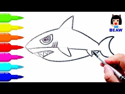 How to draw shark cartoon cute   Coloring pages for kids   サメの - copy coloring page of a tiger shark