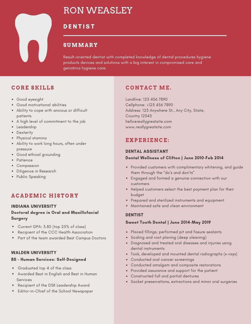 Want To Create Or Improve Your Dentist Resume The Resume Is A Key Document In The Placement Proce Dentist Resume Dental Hygienist Resume Dental Hygiene Resume