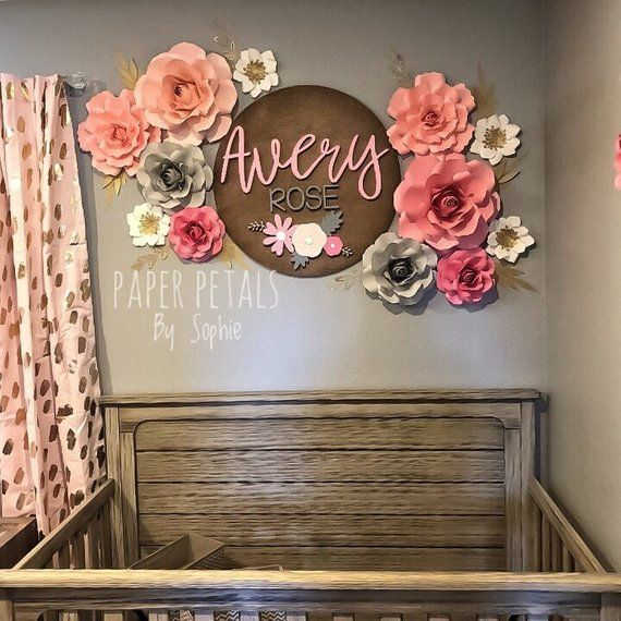10 Piece Paper Flower Set Fl Nursery Wall