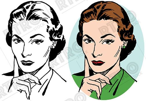 A Woman With A Skeptical Expression On Her Face Vintage Retro Clip Art Clipart Retro Images Image Stock Images Free