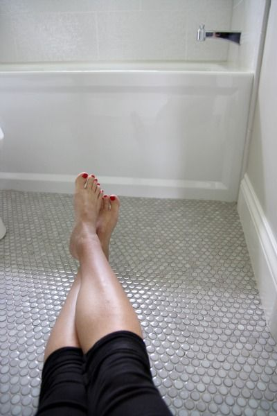 Pin By Angela Hartke Raffin On For The Home Penny Tiles Bathroom Penny Tile Penny Tile Floors
