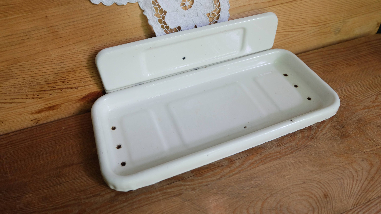 Vintage Enamel Soap Dish, Rustic Soap Holder, White Enamel