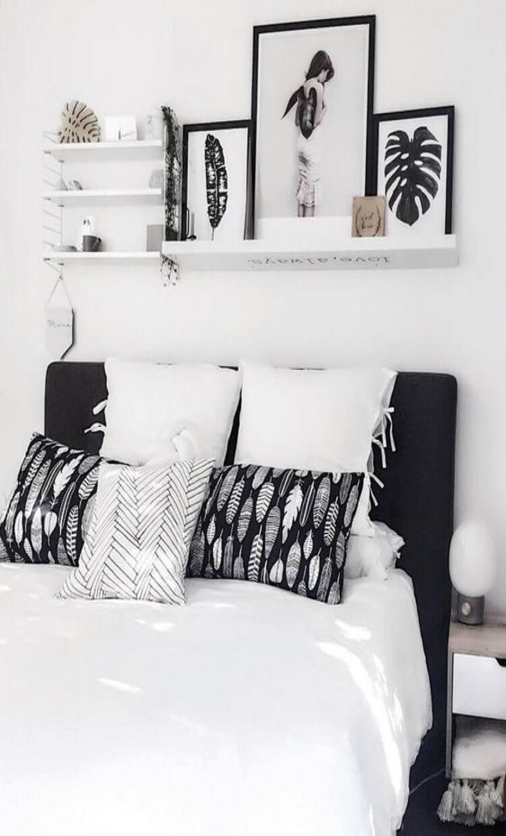 Pin By Kelly Ishak On Bedroom4 Black And Grey Bedroom White Bedroom Design Bedroom Interior