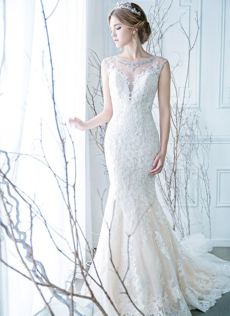 Illusion neck-line and low back mermaid gown | Wedding Dresses ...