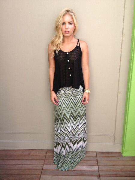 Olive Chevron Print Maxi Skirt
