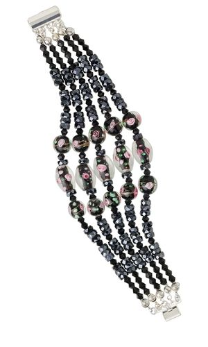 Multi-Strand Bracelet with Handmade Lampwork Glass Beads
