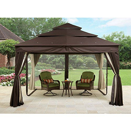 Metal Gazebo With Netting Tent Privacy Curtains Steel Frames Cover Fabric Roof Sun Uvprotected Patio Garden Backyard P Outside Gazebo Gazebo Canopy Patio Tents