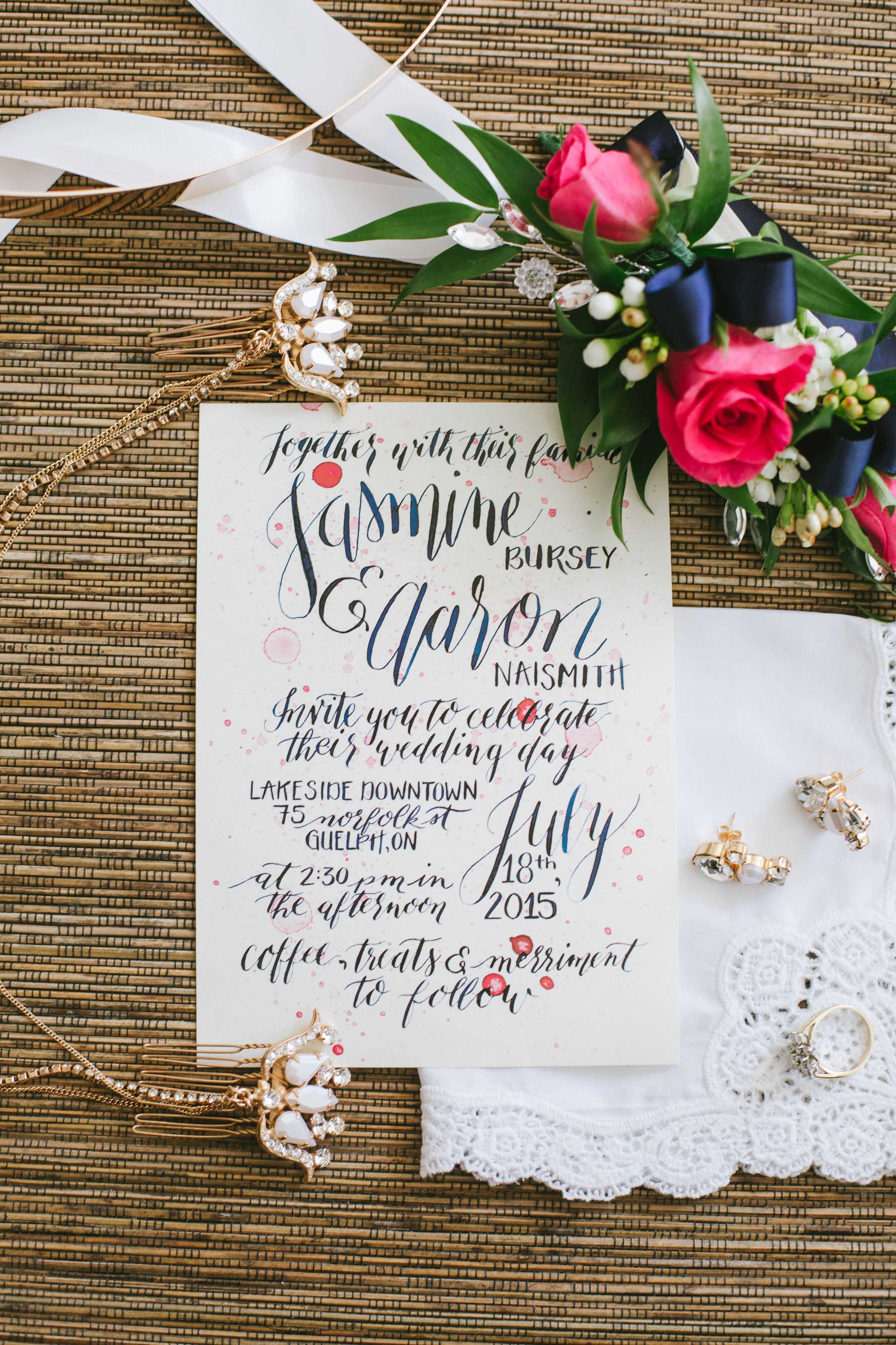 Fully hand lettered wedding invitation with watercolour background ...