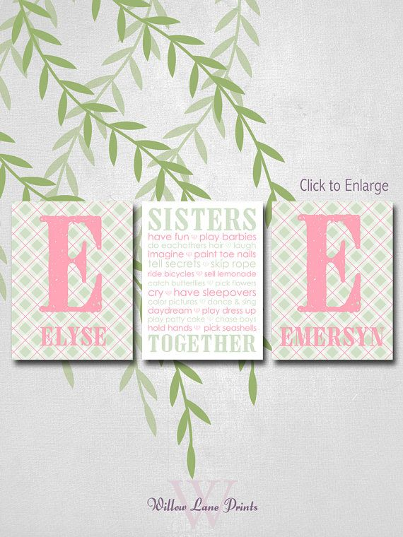 Twin Girls Nursery Decor Children S Canvas Wall Art Monogram Sisters Wall Art Plaid Nursery Ar Twin Girls Nursery Twin Boy Baby Gifts Twin Boy Nursery Decor