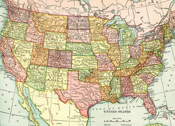 Old map of United States of America map Digital download ...