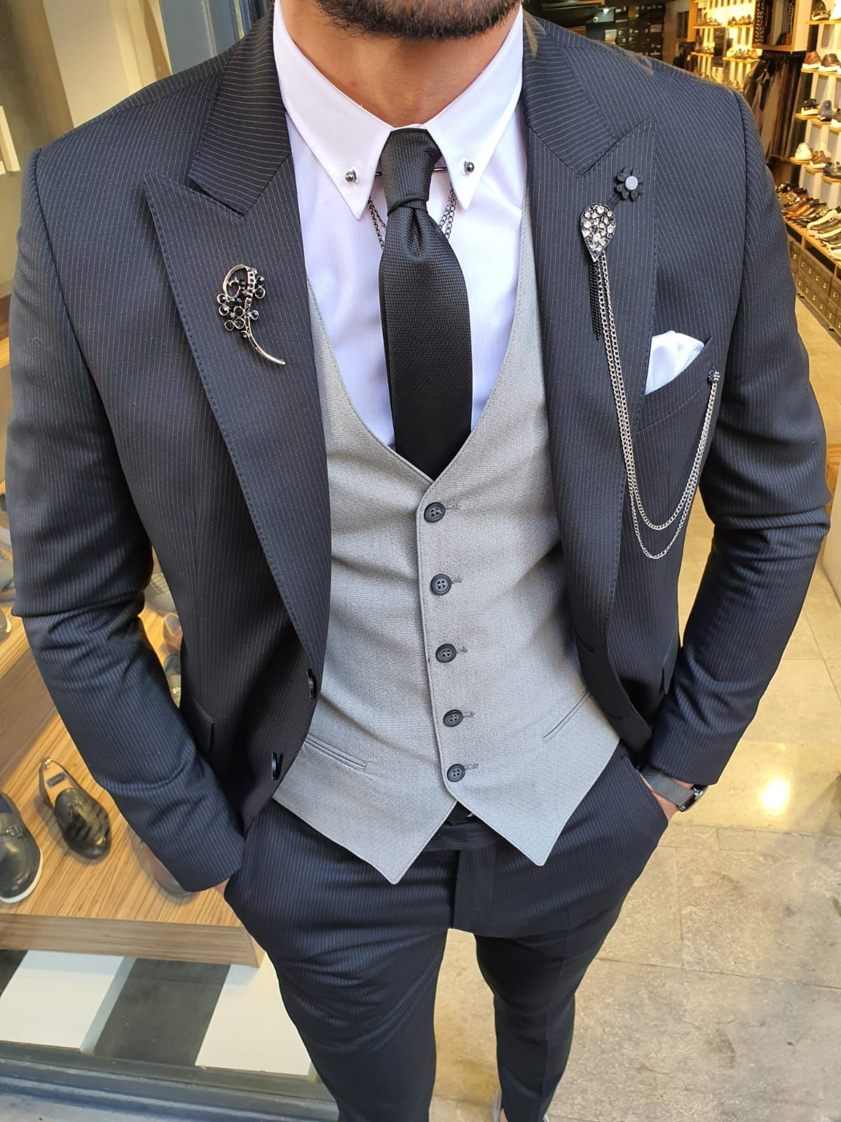 Buy Black Slim Fit Pinstripe Suit By Gentwith Com With Free Shipping In 2020 Stylish Mens Suits Blue Slim Fit Suit Designer Suits For Men