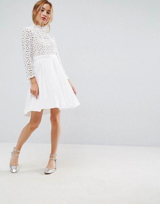 b9d3a9241 Little Mistress Petite 3/4 Sleeve Lace Top Pleated Mini Dress ...