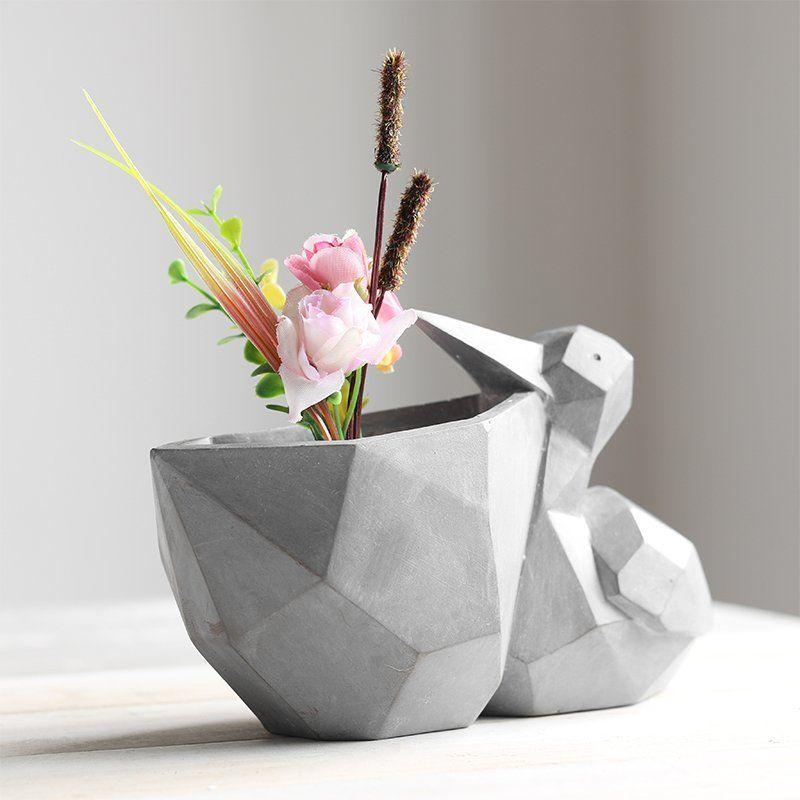 Fancy Pelican Shaped Flower Pot Vases Decor Modern Vase Small Glass Vases