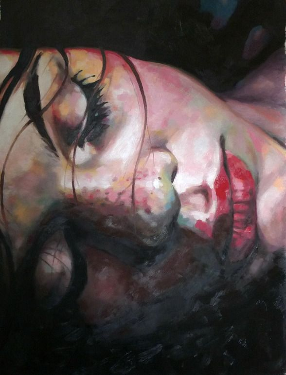 "Thomas Saliot; Oil, Painting ""Close up dark"""