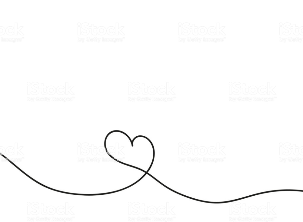 Heart In Continuous Drawing Lines Continuous Black Line The Work Of Symbol Drawing Love Heart Drawing Identity Design Logo