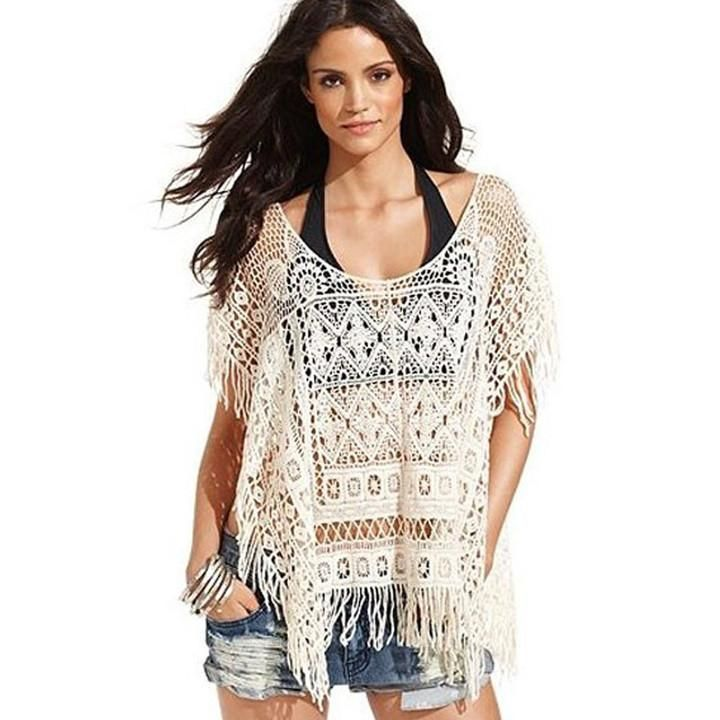 Hollow Out Crochet Knit Loose Tassels Top Blouse