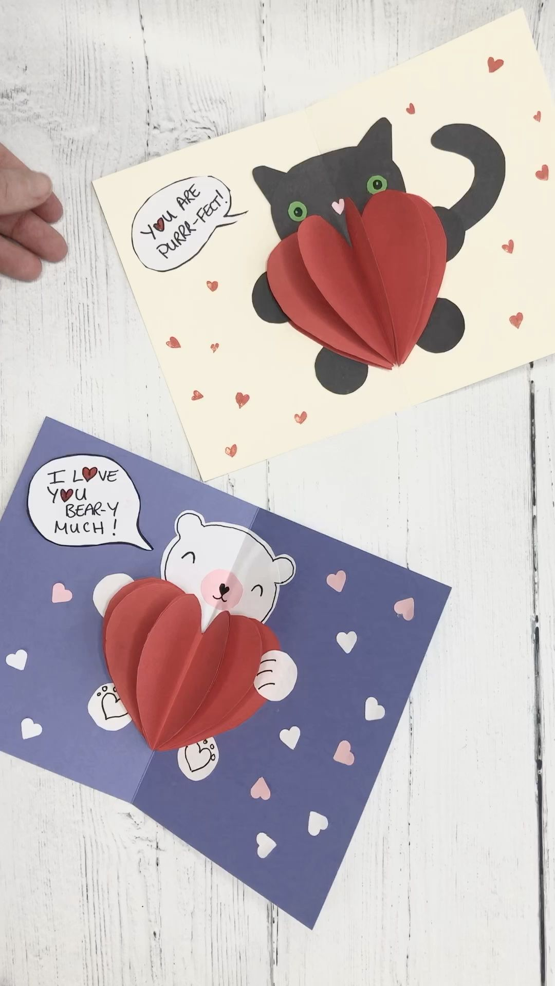 Red Ted Art's adorable pop up heart cards! I love you Bear-y Much! And your are Purrrrfect! Learn the basic technique and then make your own designs! Lovely pop up Valentine's cards for kids!