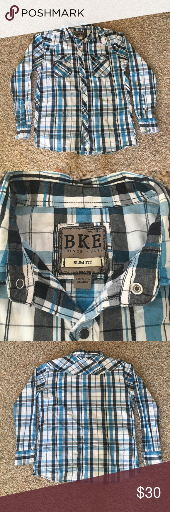 BKE slim fit button up long sleeve shirt XL Like new BKE Slim Fit XL button up shirt. Worn only a few times. Comes from a smoke free animal free home BKE Shirts Casual Button Down Shirts